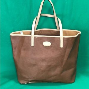 Coach brown leather monogram embossed tote